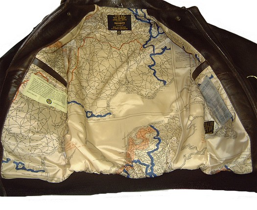 A2 bomber jacket map lining