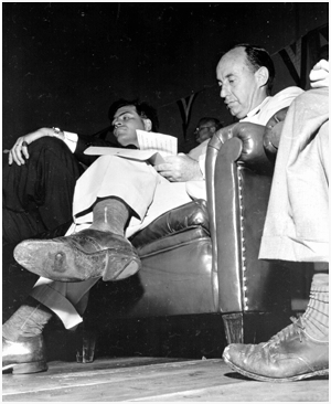 Adlai Stevenson with a hole in his shoe