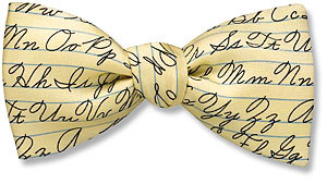 American cursive bow tie
