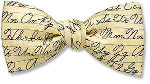American cursive bow tie