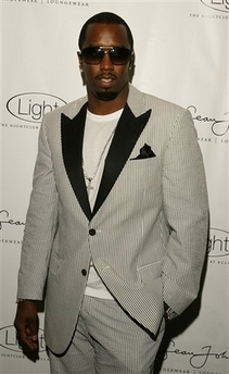 Diddy in black-and-white seersucker