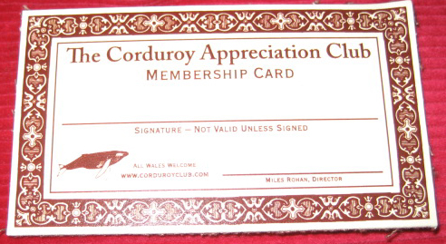 Corduroy Appreciation Club membership card