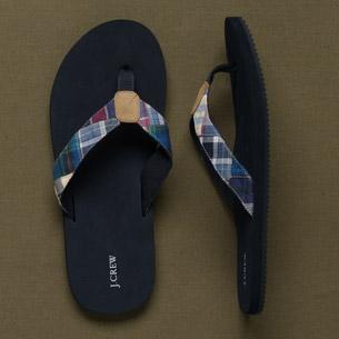 J Crew madras flip-flops
