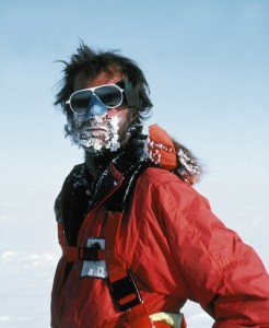 Ranulph Fiennes with snow