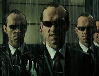 Agent Smith with slicked-back hair