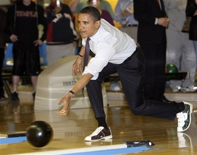 Barack Obama in bowling shoes