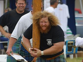 big hair caber toss