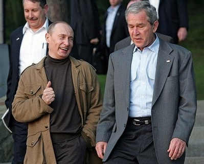 Bush and Putin in diplomatic wear