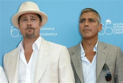 George Clooney and Brad Pitt with open collars