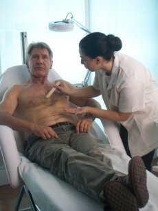 Harrison Ford getting his chest waxed