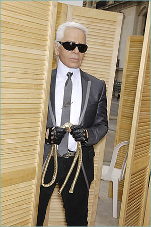 Karl Lagerfeld with noose