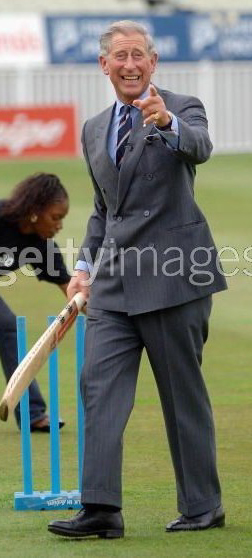 Prince Charles playing cricket
